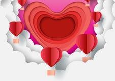 Бумажный стиль искусства шаблона поздравительной открытки дня Валентайн с сердцем и концепцией любов иллюстрация вектора