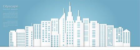 Бумажный стиль искусства для архитектурноакустической предпосылки здания и городского пейзажа Стоковые Фотографии RF