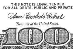 Бумажный счет 100 долларов Стоковое Фото