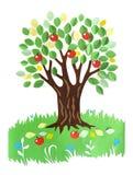 Бумажный applique - дерево с яблоками Стоковое фото RF