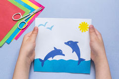 Бумажный applique сделанный ребенком на теме моря Стоковое Изображение RF