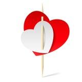 2 бумажных сердца на зубочистке Стоковые Фото