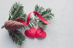 2 бумажных сердца около ветви спруса Стоковые Изображения RF