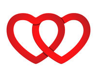 2 бумажных сердца Стоковая Фотография