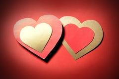 2 бумажных сердца Стоковая Фотография RF