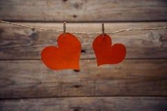 2 бумажных сердца Стоковое Изображение