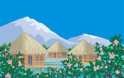 Бунгало и гора Стоковые Изображения
