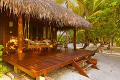 Бунгало пляжа - Мальдивы Стоковые Фотографии RF