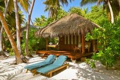 Бунгало пляжа - Мальдивы Стоковое Изображение RF