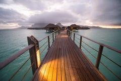Бунгало overwater Bora Bora Таити Стоковое Фото