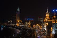 Бунд на фарфоре Шанхая ночи Стоковые Изображения