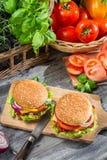 2 бургера и свежих овощи Стоковые Фотографии RF
