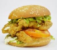 Бургер - большой сочный бургер на белой предпосылке - раундерс Стоковые Фотографии RF