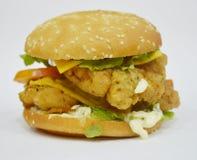 Бургер - большой сочный бургер на белой предпосылке - раундерс Стоковая Фотография RF
