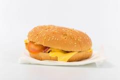 Бургер гамбургера на белой предпосылке Быстро-приготовленное питание Стоковое Изображение RF