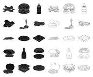 Бургер и ингридиенты чернят, конспектируют значки в собрании комплекта для дизайна Бургер варя сеть запаса символа вектора иллюстрация вектора