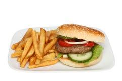 Бургер и обломоки стоковые фотографии rf
