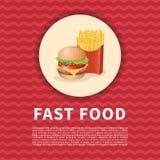 Бургер и плакат красного цвета фраев Стоковая Фотография RF