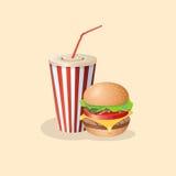 Бургер и сода в бумажном стаканчике Стоковая Фотография RF