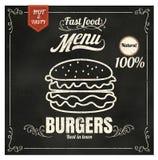 Бургер меню ед из закусочных ресторана на ep формата вектора доски Стоковое Изображение
