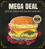Бургер меню ед из закусочных ресторана на ep формата вектора доски Стоковые Изображения