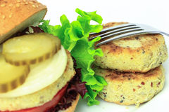 Бургер моря Vegan на белизне Стоковая Фотография RF