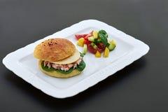 Бургер на белой плите Стоковое Изображение RF