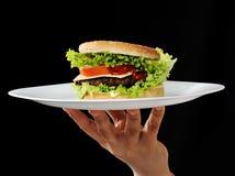 Бургер на плите Стоковые Изображения RF