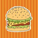 Бургер на striped предпосылке также вектор иллюстрации притяжки corel чертеж вручает ее нижнее белье утра вверх по теплым детеныш Стоковая Фотография