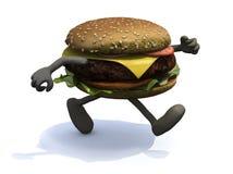 Бургер при оружия и ноги которые бежать иллюстрация штока