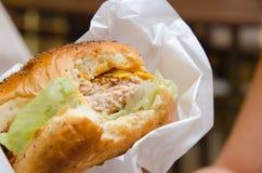 Бургер сыра цыпленка Стоковое Изображение