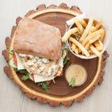 Бургер сэндвича с курицей пшеницы, зажаренные картошки, соус мустарда Se Стоковые Фотографии RF