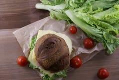 Бургер с мясом, сыром и свежими овощами Стоковое Изображение RF