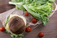 Бургер с мясом, сыром и свежими овощами Стоковое Изображение