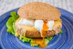 Бургер с сыром, яичком и салатом стоковое изображение