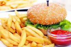 Бургер с французскими фраями Стоковые Фото