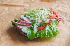 Бургер с хлебом овощей, вареного яйца и рож Концепция здоровой еды или вегетарианской еды Стоковые Изображения RF