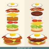 Бургер установил 5 Стоковое Изображение