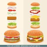 Бургер установил 3 иллюстрация вектора