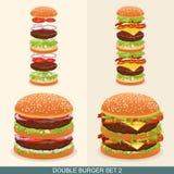 Бургер установил 2 Стоковые Изображения