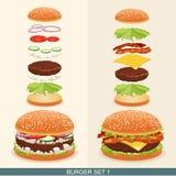 Бургер установил 1 иллюстрация вектора
