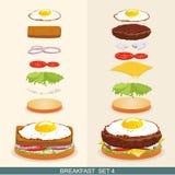 Бургер установил 4 иллюстрация вектора