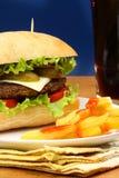 Бургер, фраи француза и шипучка соды Стоковые Фото
