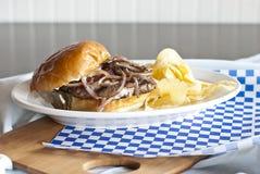 Бургер швейцарца гриба Стоковые Изображения RF