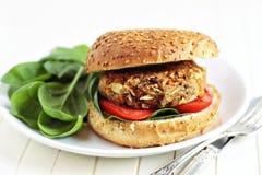 Бургер Vegan с шпинатом Стоковая Фотография
