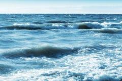 Бурное голубое фото предпосылки морской воды Стоковая Фотография