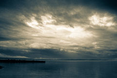 Бурное небо над Lake Michigan Стоковая Фотография