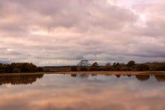 Бурные облака над озером в новой сельской местности леса стоковые изображения rf