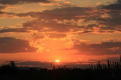Бурный заход солнца природы облака Стоковые Фото