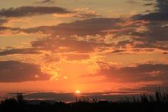 Бурный заход солнца природы облака Стоковые Изображения